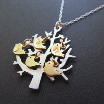 Mothers Jewelry  Family tree BIRDS on the Tree  by BlueDoveStudio