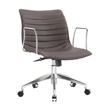 Dark Brown Mid-Back Comfortable Mid-century Modern Office Chair with 26.7-in Wide Seat