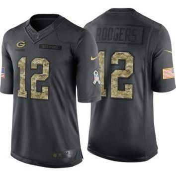 PEAPYD9 NFL Green Bay Packers Aaron Rodgers #12 Salute to Service Nike Men's Home Limited Jer