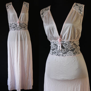 80s Vintage LINGERIE Nightgown slip Pink NEGLIGEE Sleep wear Pajamas Babydoll Nighty medium large