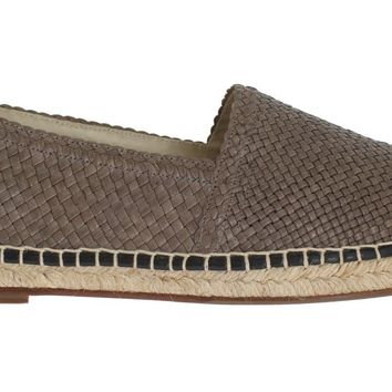 Gray Leather Woven Loafers Espadrilles