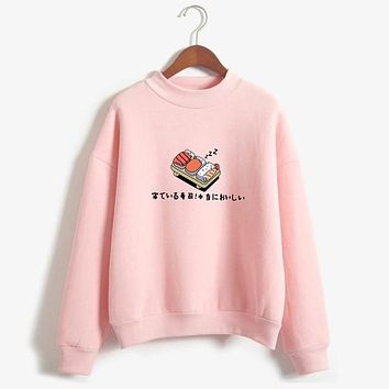 Best Seller Women Hoodies Autumn Winter Sweatshirts Cartoon Kawaii Sushi Japanese Print Fleece Loose Moletom Feminino Harajuku Pullover