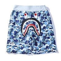 BAPE AAPE Fashion Women Men Blue Camouflage Shark Mouth Print Elastic Waistband Beach Sport Shorts I13165-1
