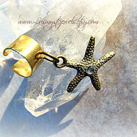 Gold Starfish Ear Cuff, Nautical ear Cuffs, Starfish jewelry, Drict Checkout, beach wear