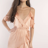 Roe + May Viv Mini Satin Wrap Dress