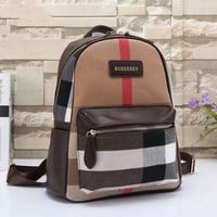 BURBERRY Women Shopping Leather Metal old plaid Backpack  Brown