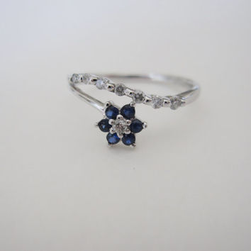 14K Estate Sapphire Diamond White Gold Flower Dainty Petite Journey Anniversary Vintage Something Old Blue Wedding Engagement Ring Band