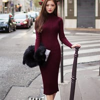Women Long Sweater Dress 2016 Vintage Stripe Autumn Winter Sexy Slim Bodycon Dresses Elastic Skinny Knitted Dress Vestidos C2667