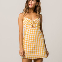 FULL TILT Gingham Knot Front Dress