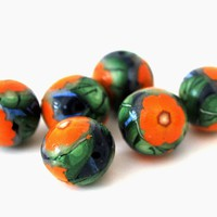 Orange Flower Round Beads, Set of 6 15mm Polymer Clay Beads, Jewelry Making Supplies