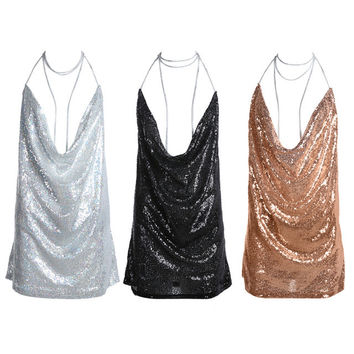 Womens Backless Sequin Dress Ladies  Sexy sleeveless Deep-V halter Chain Choker Slip party Dress Silver/black/pink