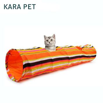 Pet Colorful Striped Squeak Tunnel Rabbit Kitten Collapsible Cat Tunnel