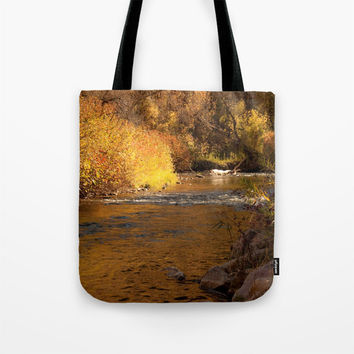 Art Tote beach Bag Rustic Fall photography Fashion photograph photo brown nature landscape mustard yellow orange autumn river gold rustic