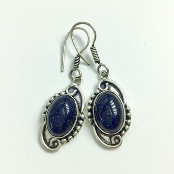 Blue Sunstone Silver Earrings