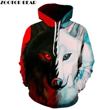 Different pupil Wolf Hoodies Sweatshirts Women Men 3D Printed Hoodies Fashion Pullover Male Tracksuit Pocket Jacket Hooded Hot