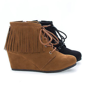 WigIIS Black By Soda, Children Girls Round Toe Lace Up Fringe Wedge Ankle Booties