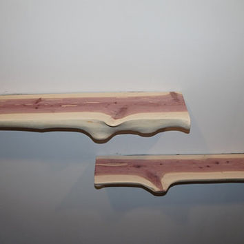 Set of Rustic Half Log Cedar Shelves, Floating Shelves, Rustic Shelves, Wall Shelves, Cedar Shelves, Live Edge Shelves