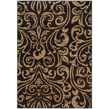 "Emerson 2033C Botanical Black-Gold Area Rug (5' X 7'6"")"