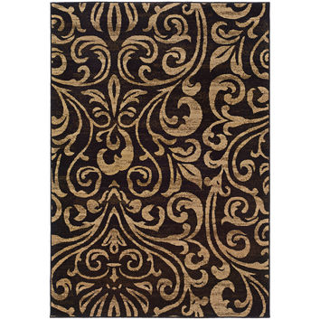 "Emerson 2033C Botanical Black-Gold Area Rug (1'10"" X 7'6"")"