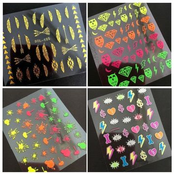 Newest Fashion neon-3 fire design series export Japan neon linedesigns wa3D nail art sticker nail decal stamping