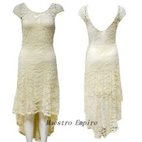 Vintage Style Hippie Boho Sheer Lace Wedding Cocktail Asymmetrical Dress