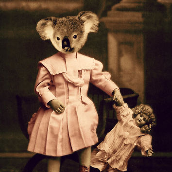 "Koala Bear Art, Mixed Media Collage Altered Art Print,  ""Penny In Pink"" 8 x 10 Nursery Decor, Vintage Photograph, Watchful Crow"