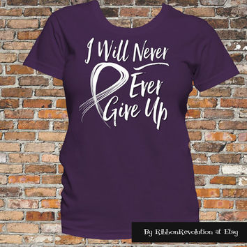 Purple I Will Never Ever Give Up Shirt