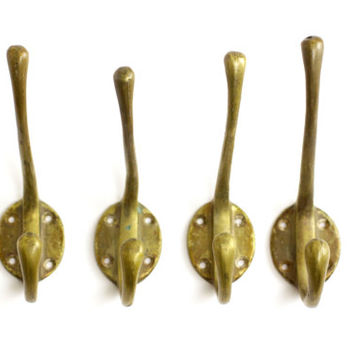 4 Vintage Brass Coat Hooks - Vintage Industrial Hook Hardware