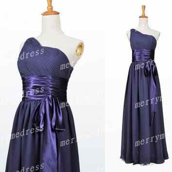 Grape One-shoulder Ruffled Strapless Waistband Long Bridesmaid Celebrity Dress,Chiffon Formal Evening Party Prom Dress New Homecoming Dress