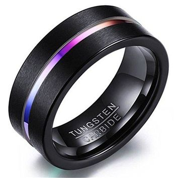 8mm Black Tungsten Carbide Fashion Jewelry Colourgravure Wedding Band Engagement Ring Matte Finish