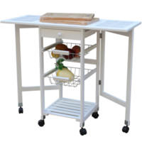 Portable Rolling Drop-Leaf Kitchen Island Trolley Cart Table Pine Wood