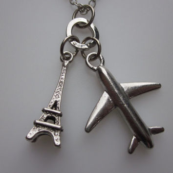 Travel to Paris Necklace. Airplane and Eiffel Tower Charms