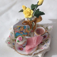 """Dolls House Miniatures - """"Happy Mothers Day"""" English Tea Tray"""