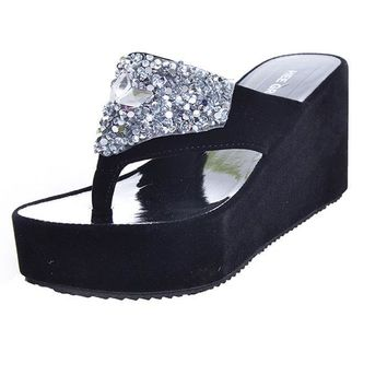 Rhinestone High Wedge Platform Sandals
