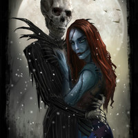 THE NIGHTMARE BEFORE CHRISTMAS Silk Wall Posters Jack and Sally Classic Movie poster 24x36 20x30 12x18inch