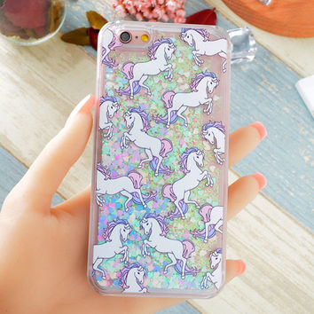 Hot Fantastic Unicorn Animal Horse Case Dynamic Liquid Glitter Capa Phone Cases Cover For iPhone 7 7Plus 4S 5S SE 5C 6G 6S 6Plus