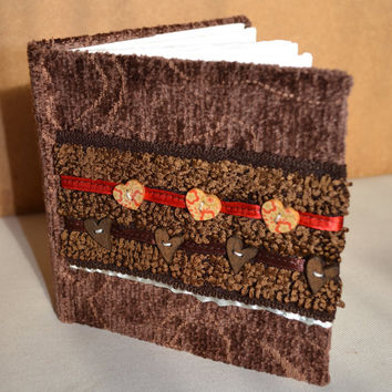 Brown Chenille cover with Button and Ribbon detail Hardback Somerset paper Art Sketch journal gift school art handmade book