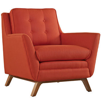 Modway Beguile Fabric Armchair in Tufted Atomic Red W/ Walnut Finished Legs