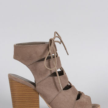Qupid Suede Peep Toe Corset Lace Up Gladiator Chunky Heel