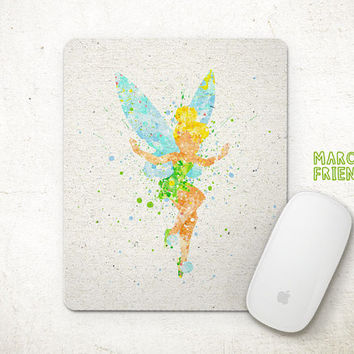Tinkerbell Mouse Pad, Peter Pan Watercolor Art, Mousepad, Home Art, Gifts Idea, Art Print, Desk Decor, Disney Accessories