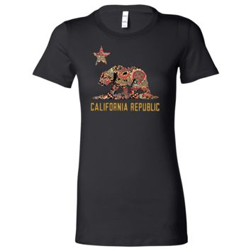 California Republic Paisley Bear Ladies Lightweight Fitted T-Shirt
