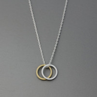 Double Circle Karma  Pendant Necklace  -  Available Chain color as listed ( Gold, Silver )