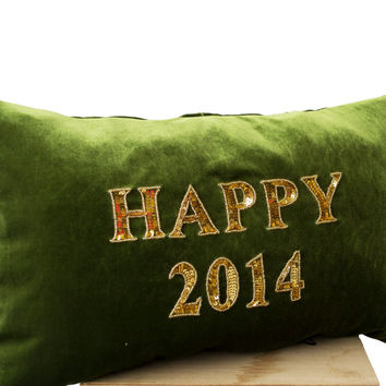 Happy New Year Pillow - Green gold velvet cushion - Decorative throw pillows with greetings -Gold sequin pillow -lumbar pillow - 12x20 -gift