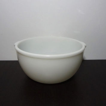 Vintage Large White Milk Glass Mixing Bowl