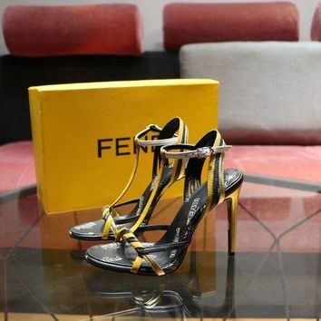 DCCK Fendi Women's Leather Fashion Colibrì High-heeled Sandals