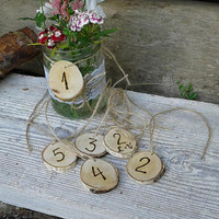 20 Personalized Rustic Natural Wood Slices with Table Numbers, Rustic Wood Slices with Personalized Woodburning
