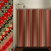 Red Gold Black Golden Asian Batik shower curtain bathroom decor fabric kids bath window curtains panels bathmat valance