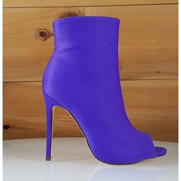 a4786e37942f So Me Bleu Bold Purple High Heels Satin Peep Toe Ankle Boot