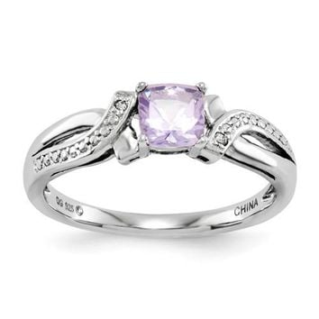 Sterling Silver Cushion Pink Quartz Rose De France Amethyst Diamond Ring