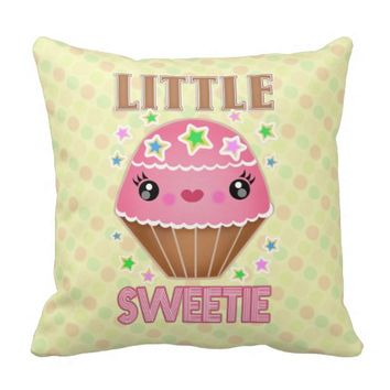 Cute Kawaii Little Sweetie Cupcake Throw Pillow